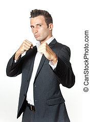 Fight - A formaly dressed man ready to fight competition