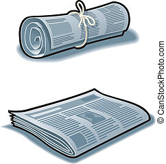 Newspapers rolled up with string and flat. CMYK color, Layer...