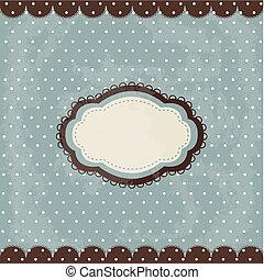 Vintage polka dot design, brown frame