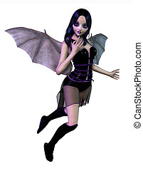 Gothic Fairy with Bat Wings - 3D render