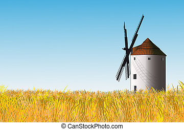 Spanish windmill - Illustration of a Spanish windmilla in a...