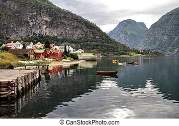 Norway - Aurlandsfjord - beautiful fiord landscape in Sogn...