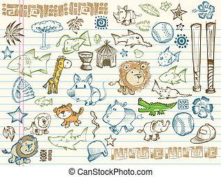 Sketch Doodle Vector Elements Set - Mega Sketch Doodle...