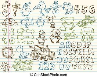 Doodle Sketch Vector Elements set - Mega Doodle Sketch...