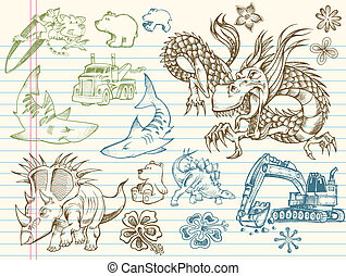 Doodle Sketch Vector Elements Set