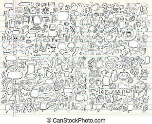 Doodle Design Elements Vector set - Notebook Doodle Sketch...
