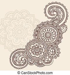 Henna Mehndi Tattoo Doodles Vector - Henna Mehndi Paisley...
