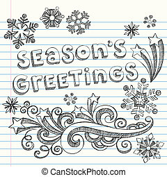 Christmas Holiday Sketchy Doodles - Seasons Greetings Winter...