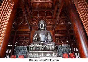 Silver Buddha in Wooden Hall Jing An Temple Shanghai China -...
