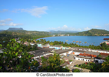 Baracoa, Cuba - aerial view of the town and the sea