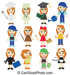 different jobs girls on white background vector