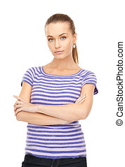 lovely woman in striped sweater - bright picture of lovely...