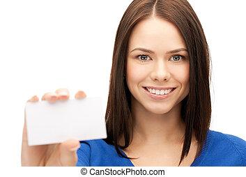 mulher, negócio, cartão
