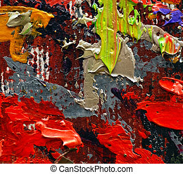 Painting details - colorful oil painting texture closeup...