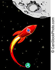 retro, foguete, nave espacial, lua