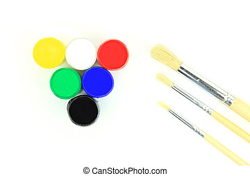 Acrylic Watercolours and paintbrushes - close-up - Picture...