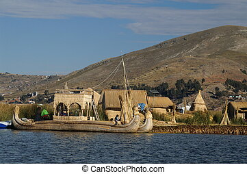 Titicaca lake - Island, sky, birds on Titicaca lake trip in...