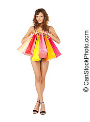 woman in sexy lingerie with shopping bags - picture of...