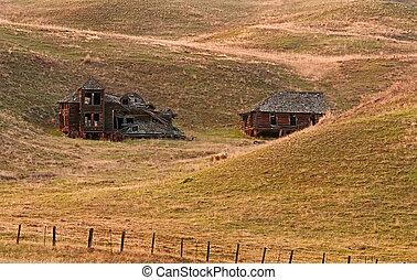 vecchio, colline, castello, storico, rimbombante, fattoria