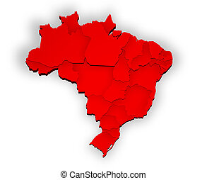 Three dimensional map of Brazil with states in red