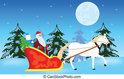 Santa claus goes to sled on white - Fairy-tale santa claus...