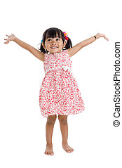 girl in studio with arms outstretched - cute little girl...