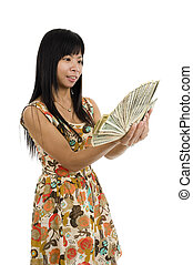 woman starring at money - happy asian woman starring at her...