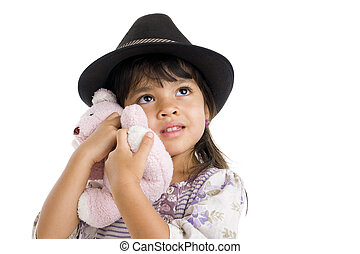 cut girl hugging teddy bear - cute girl with hat hugging her...