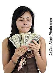pretty woman with lots of money isolated on white background