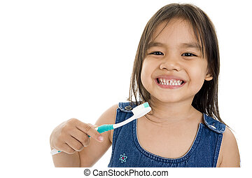 little asian girl with toothbrush