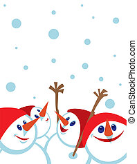 Christmas card with snowmans Space for copypaste