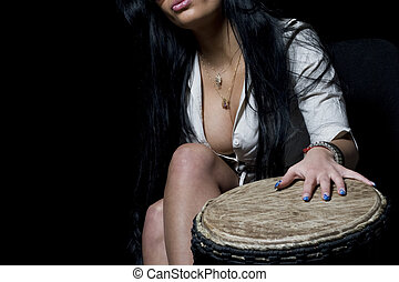 cleavage and djembe - girl, shirt, cleavage and djembe