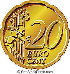 vector Money eurocent gold coin twenty
