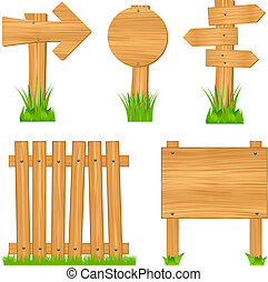 Wooden arrow signs, boards and fence, vector illustration