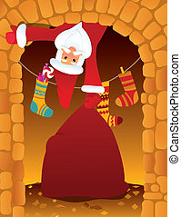 Santa Claus and chimney - Santa Claus and the chimney on...