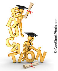Man on text education. 3d - Man with diploma on text...