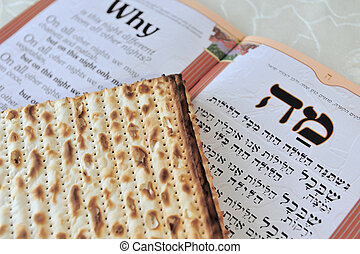 Traditional Jewish Matzo sheets on a Passover Seder table...