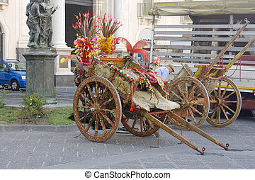 Characteristic Sicilian Oxcart in Catania