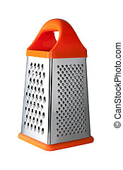 Metal grater with handle isolated