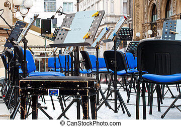 Chairs for musicians in concert