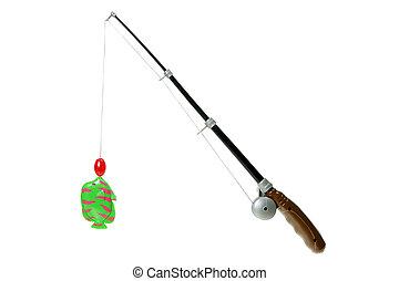 Toy Fishing Rod on White Background