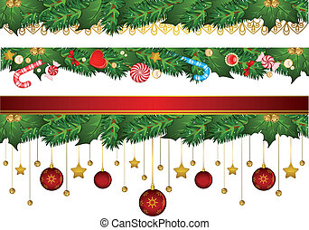 Christmas background with Candy cane and decorations.