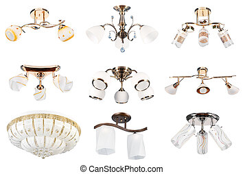 Lamps collection Perspective view Isolated - 9 different...
