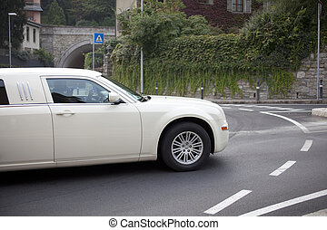 Limousine - White Limousine on the road