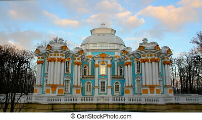 The ancient building in Pushkin Park, Tsarskoye Selo, St....