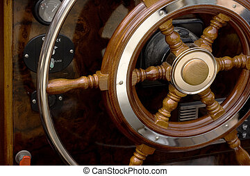 Helm - Wooden Helm of a motorboat