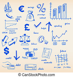 Finance Budget Icons - hand drawn finance budgeting icons