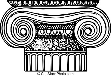 Ionic column - Top part of ionic column on white background