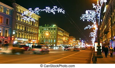 Nevsky Prospect in St Petersburg at Christmas night -...