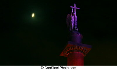 Alexander Column on Palace Square in St. Petersburg, moonlit night